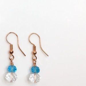 """Amphitrite"" Turquoise & Diamond Earrings Handmade"